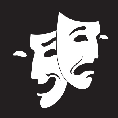 Comedy and tragedy theater mask white on black background