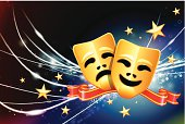 Comedy and tragedy theater masks on starry background