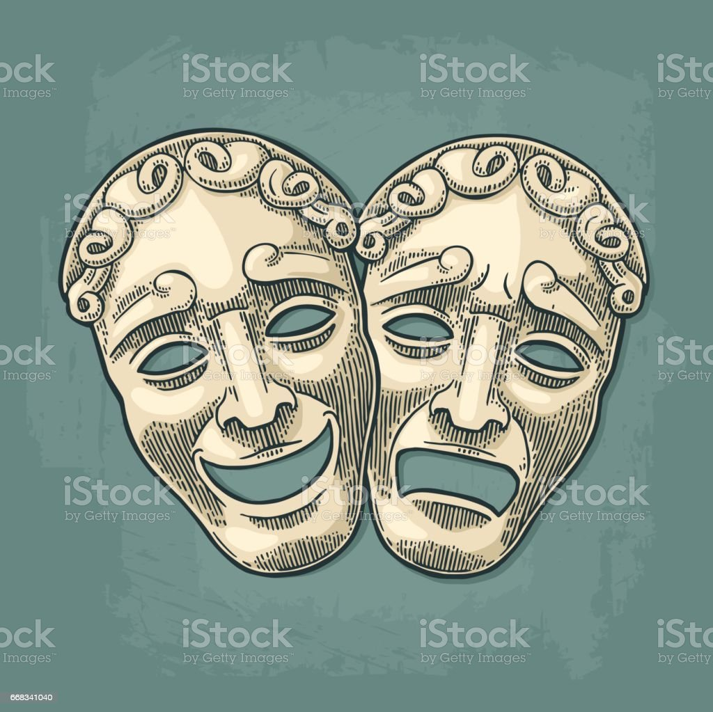 Comedy and tragedy theater masks. Vector engraving vintage black illustration vector art illustration
