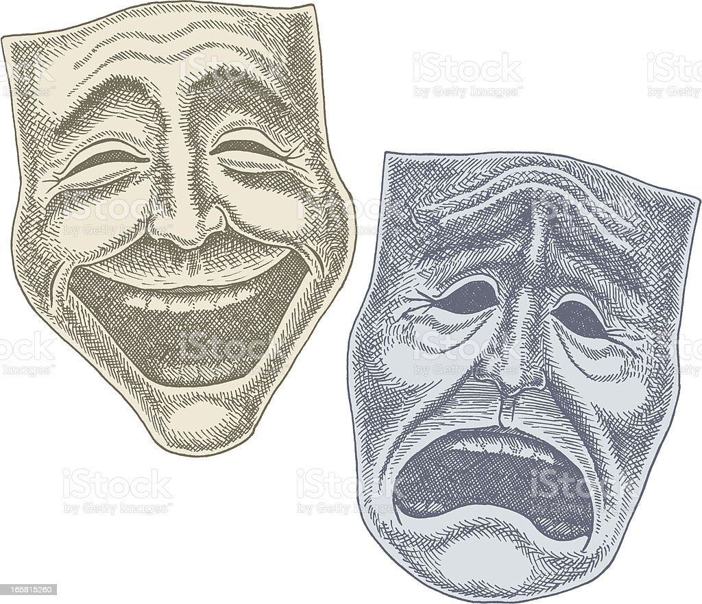 Comedy and Tragedy Theater Masks vector art illustration