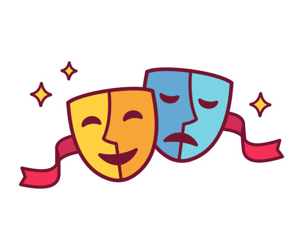 royalty free comedy and tragedy masks clip art vector images