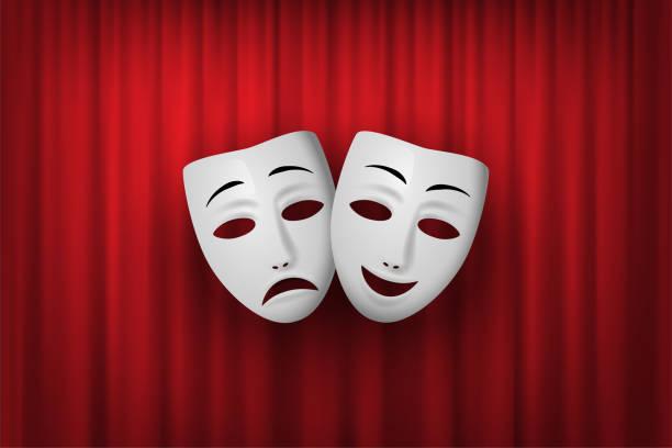 illustrations, cliparts, dessins animés et icônes de comédie et tragédie masque théâtral isolé sur un fond de rideau rouge. illustration vectorielle. - theatre