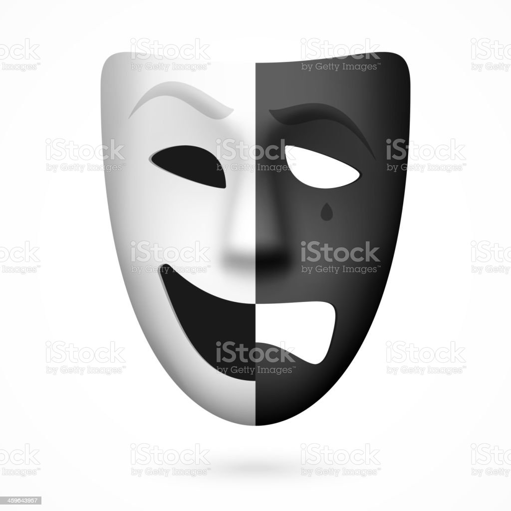 Comedy and tragedy theatrical mask vector art illustration