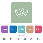Comedy and tragedy theatrical masks flat icons on color rounded square backgrounds