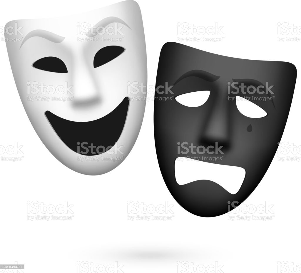 Comedy and tragedy theatrical masks vector art illustration