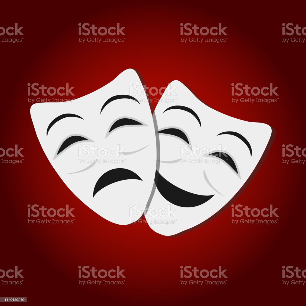 Comedy and tragedy theatrical masks. White theatrical masks on red...