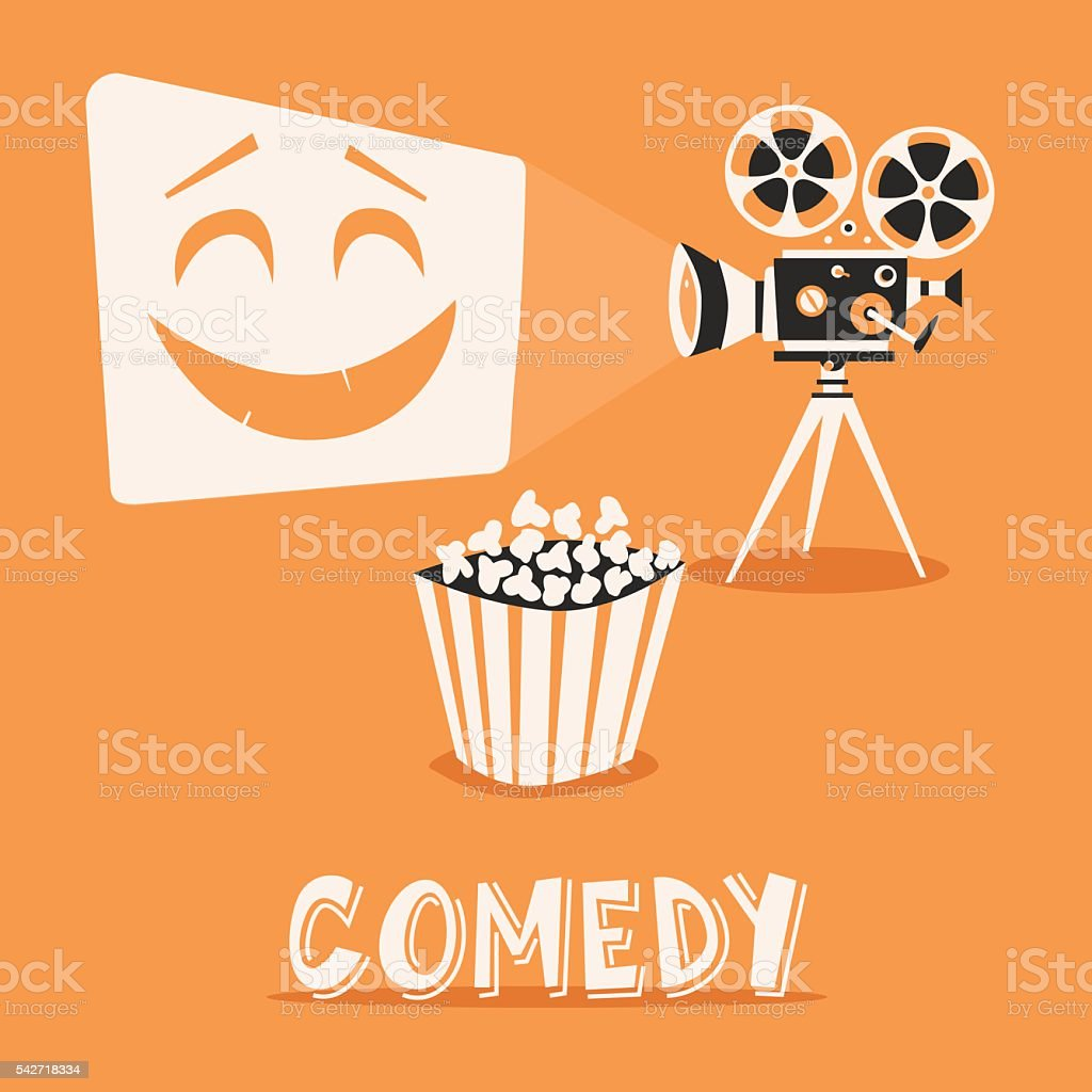 Comedy in the cinema. Happy holidays with popcorn vector art illustration