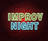Vector illustration of a Comedy Night themed neon sign and brick wall. Poster design or invitation template, easy to edit on separate layers. Includes spot light with microphone on stand, curtains, and neon sign on a textured brick wall.