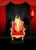 Vector illustration of a comedy roast and toast concept with hot seat chair, beer bottle and wine glass.  Microphone with flames and red stage curtain included.