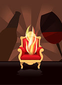 Vector illustration of a comedy roast and toast concept with hot seat chair, beer bottle and wine glass.