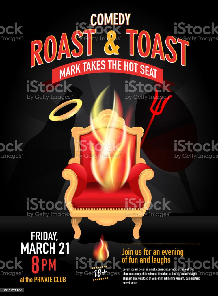 Comedy Roast Design Template With Angel And Devil Concept Stock ...