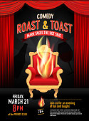 Vector illustration of a comedy roast invitation design template with red curtain.