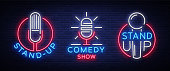 Comedy Show Stand Up An invitation collection of neon signs. Logotype set, Emblem Bright flyer, light poster, neon banner, bright night commercials advertisement, card, postcard. Vector illustration.