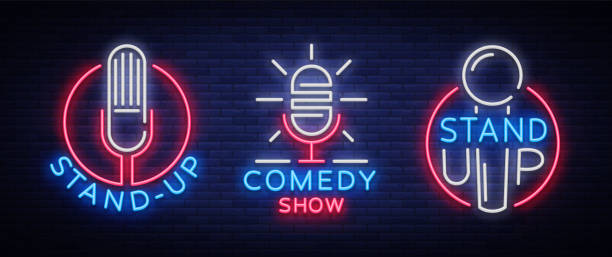 comedy show stand up an invitation collection of neon signs. logotype set, emblem bright flyer, light poster, neon banner, bright night commercials advertisement, card, postcard. vector illustration - comedian stock illustrations