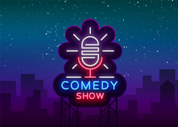 comedy show stand up invitation is a neon sign. emblem bright flyer, light poster, neon banner, brilliant night commercials advertisement, card, postcard. vector illustration - comedian stock illustrations