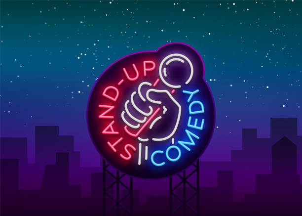 comedy show stand up invitation is a neon sign. logo, emblem bright flyer, light poster, neon banner, brilliant night commercials advertisement, card, postcard. vector illustration - comedian stock illustrations