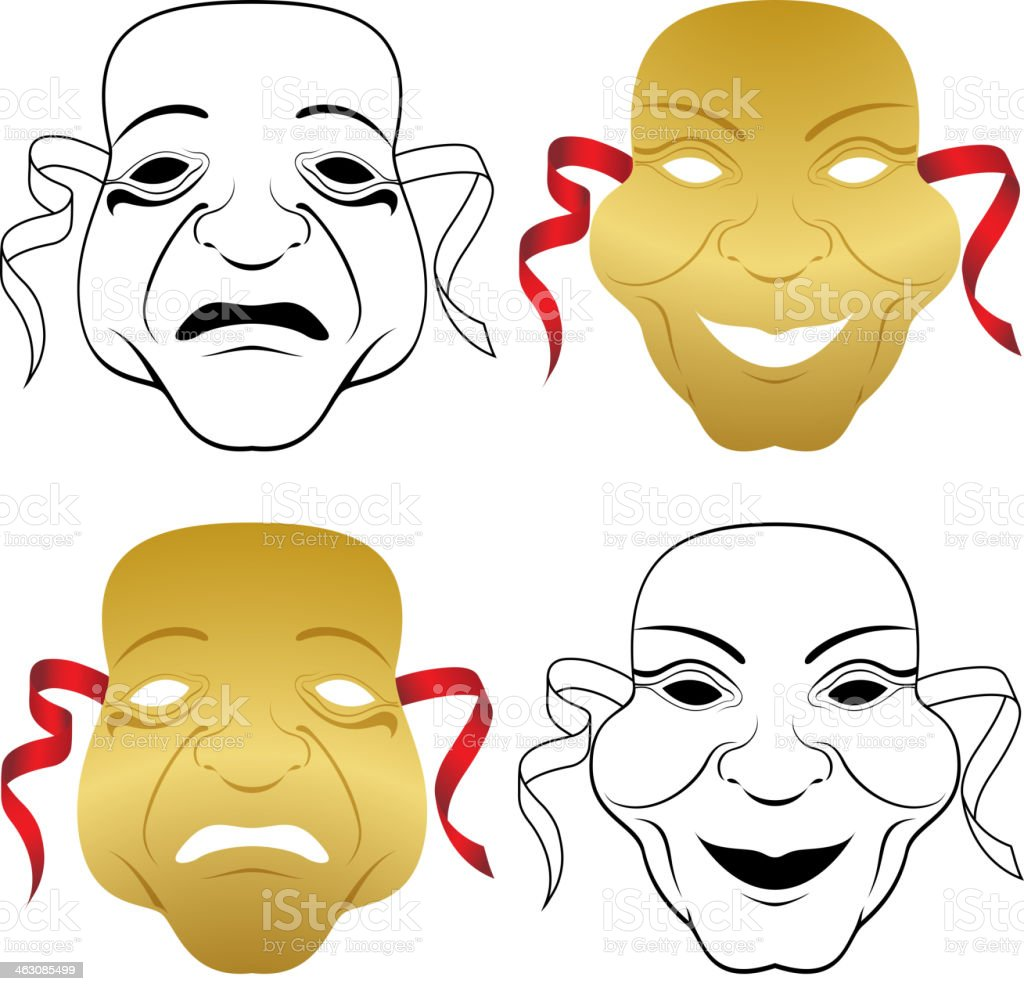 Comedy & Tragedy Masks royalty-free stock vector art