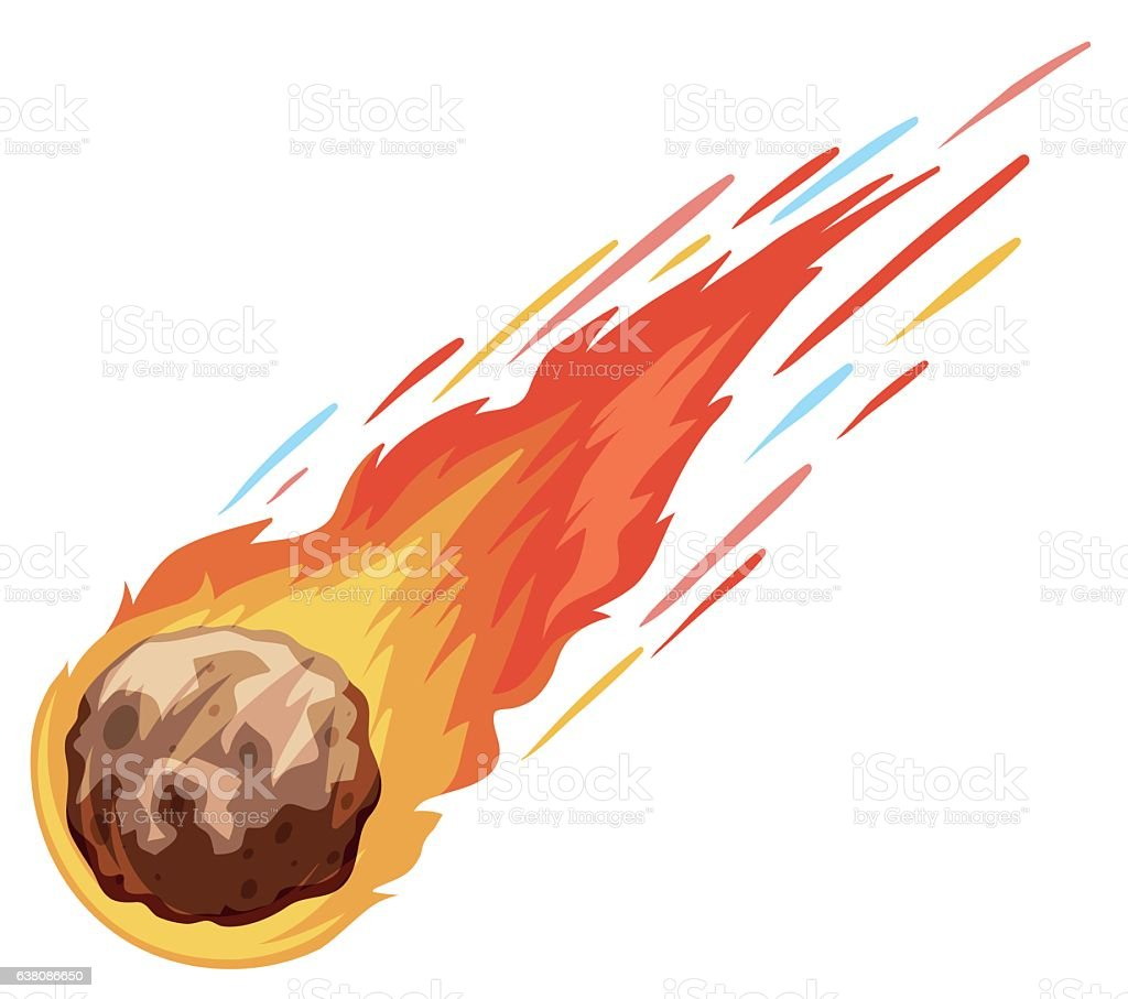 Comet falling down fast vector art illustration