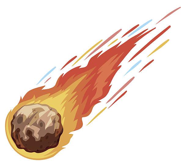Comet falling down fast vector art illustration