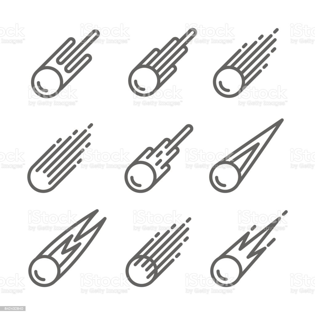 Comet Icon set vector art illustration