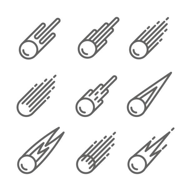 Comet Icon set vector art illustration