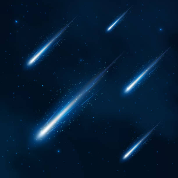 Comet shower in the starry sky. Vector abstract background vector art illustration