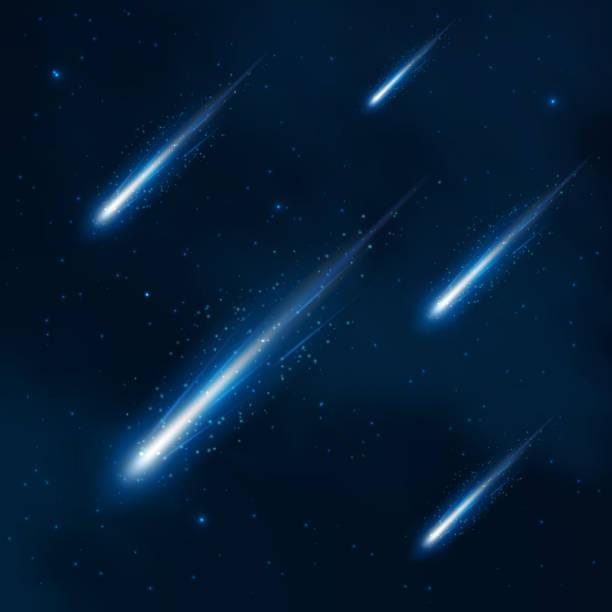 Komet Dusche in den sternenklaren Himmel. Vektor abstrakter Hintergrund – Vektorgrafik
