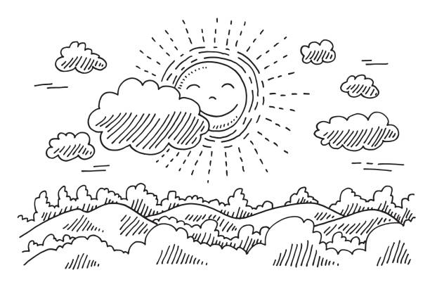Comforable Sun Calm Landscape Drawing Hand-drawn vector drawing of a Comforable Sun in a Calm Landscape. Black-and-White sketch on a transparent background (.eps-file). Included files are EPS (v10) and Hi-Res JPG. environment stock illustrations