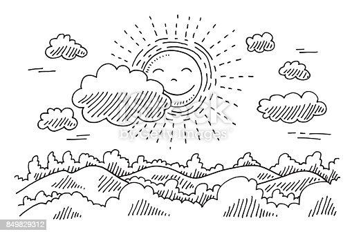 comforable sonne ruhe landschaft zeichnung stock vektor