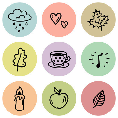 Comfort pastel set of autumn round elements for stories in social networks. Vector Cover Highlight Icon with abstract doodle leaves, apple, cloud, mug, tea, candle, music. Seamless pattern.