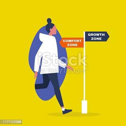 Comfort vs growth zone. Success. Career. Business. Self improvement. Millennial lifestyle. Education. Flat editable vector illustration, clip art