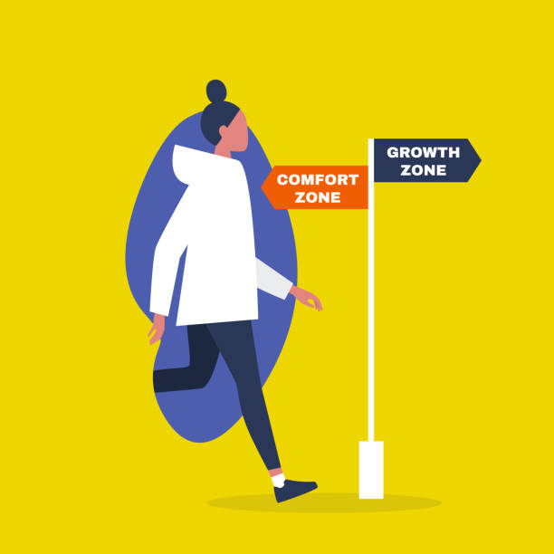 Comfort vs growth zone. Success. Career. Business. Self improvement. Millennial lifestyle. Education. Flat editable vector illustration, clip art Comfort vs growth zone. Success. Career. Business. Self improvement. Millennial lifestyle. Education. Flat editable vector illustration, clip art comfort stock illustrations