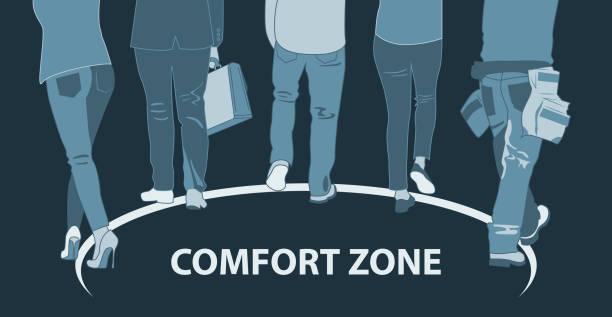 ilustraciones, imágenes clip art, dibujos animados e iconos de stock de zona de confort, avanzando - comfortable