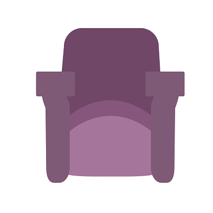 Comfortable chair with armrest and isolated on a white background. Vector illustration in flat style. Collection of furniture for home and office