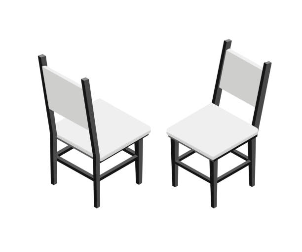komfortable stühle isometrische vektor-illustration - winkelküche stock-grafiken, -clipart, -cartoons und -symbole