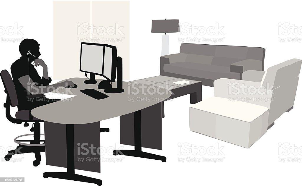 Comfortable Computing Vector Silhouette vector art illustration