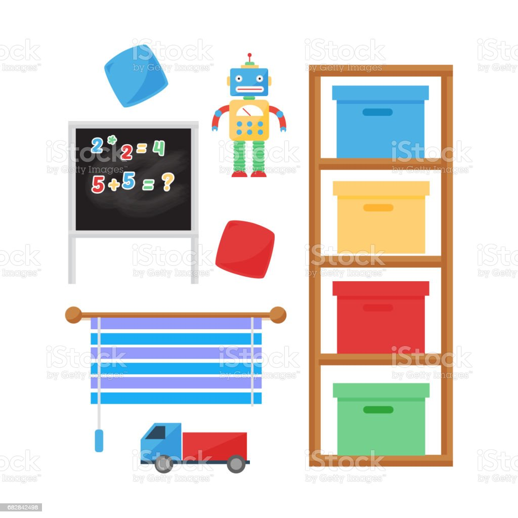 Komfortable gemütliche Baby Zimmer Dekor Kinder Schlafzimmer Innenraum mit Möbeln und Spielzeug Vektor Lizenzfreies komfortable gemütliche baby zimmer dekor kinder schlafzimmer innenraum mit möbeln und spielzeug vektor stock vektor art und mehr bilder von babybett