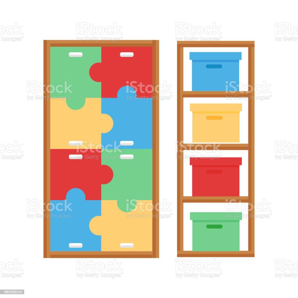 Comfortable Cupboard Cabinet Baby Room Decor Children Bedroom Interior  Furniture Vector Stock Vector Art & More Images of Archival