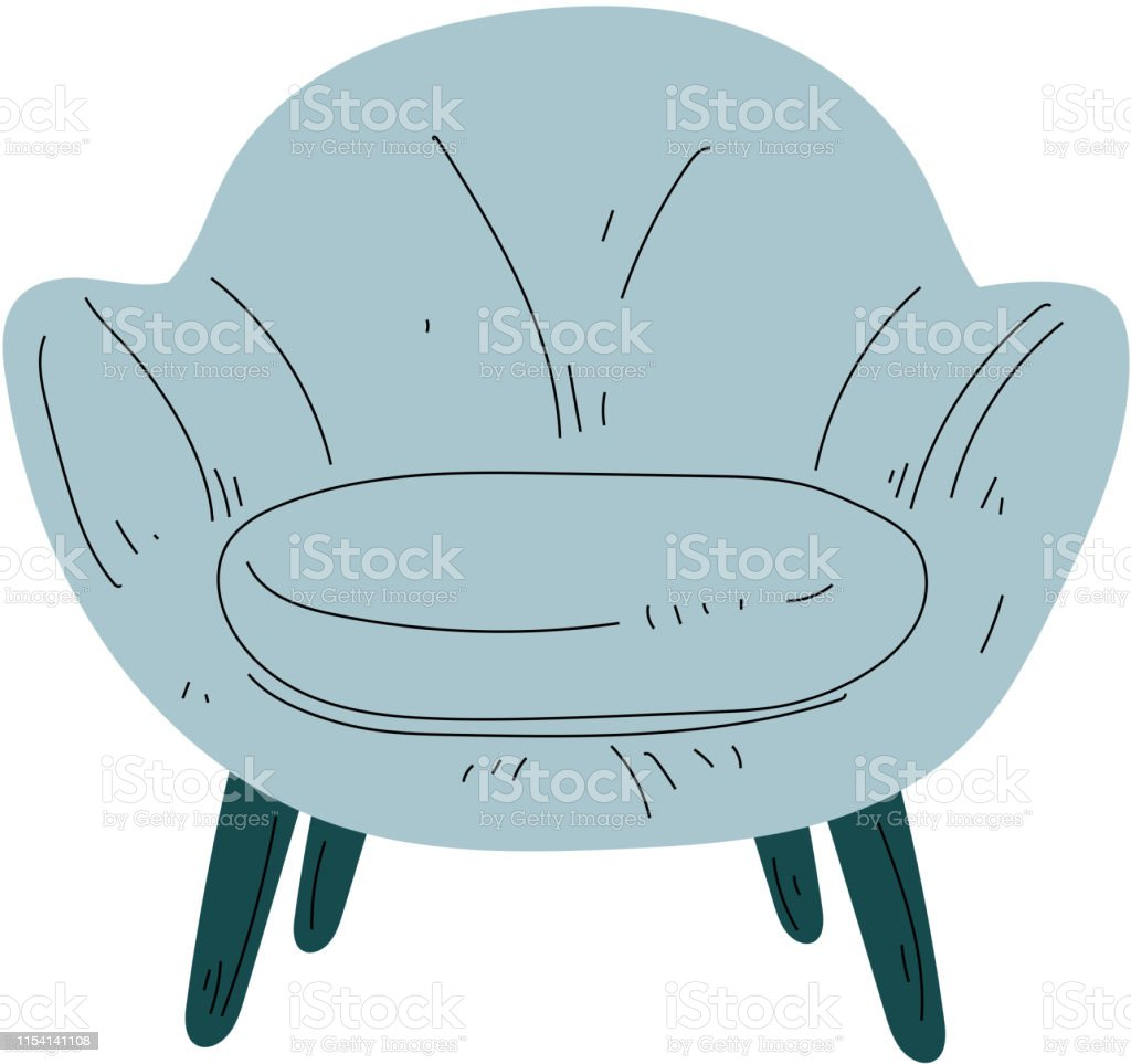 Comfortable Light Blue Armchair on Wooden Legs, Cushioned Furniture...
