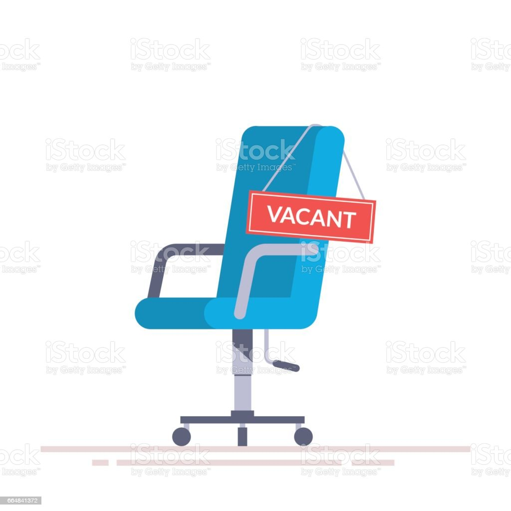 Comfortable office chair with a vacancy sign. Business hiring and recruiting abstract concept. Search for a new employee. Flat vector illustration isolated on white background. vector art illustration