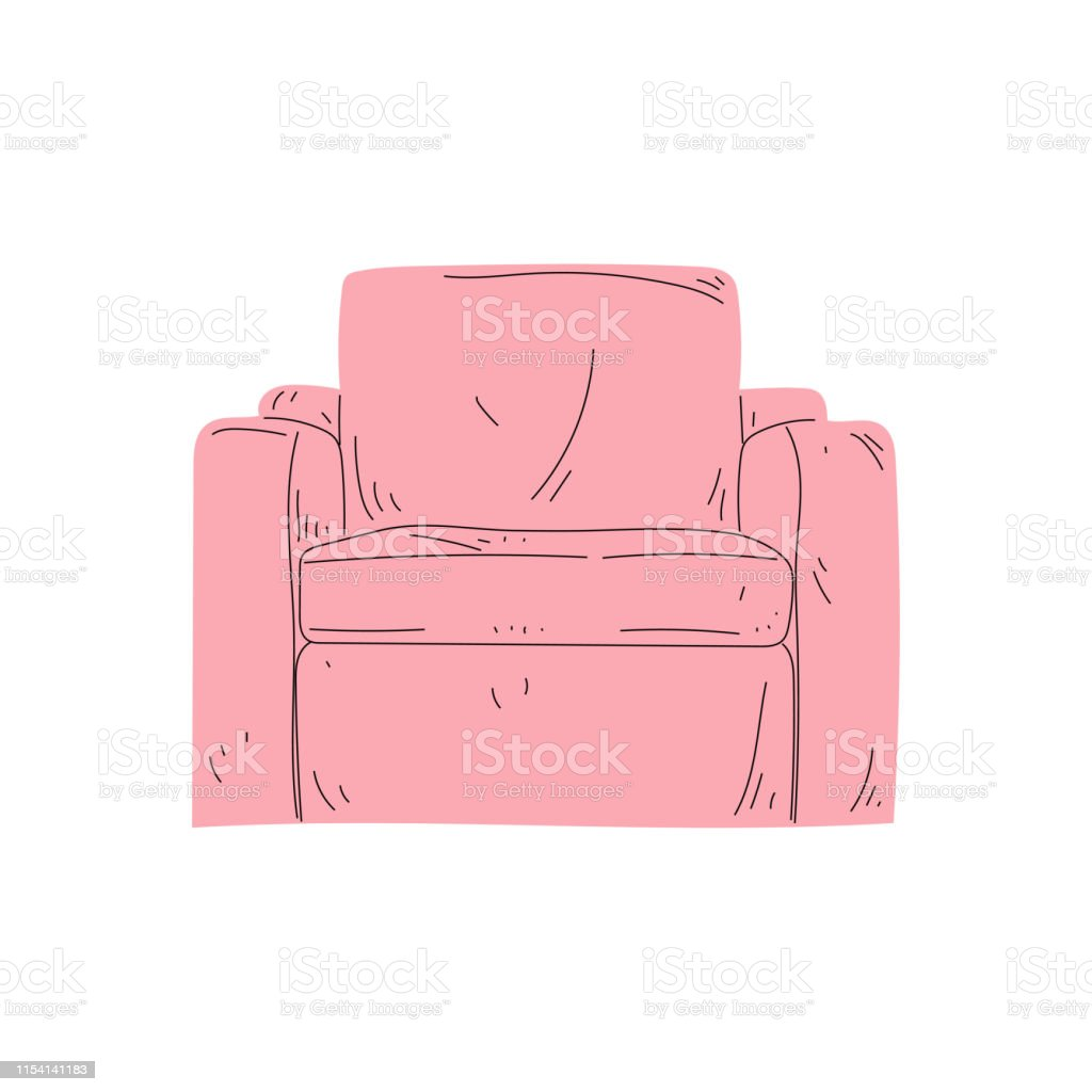 Comfortable Pink Armchair, Cushioned Furniture with Upholstery,...