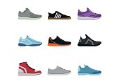 Comfortable shoes collection isolated on white background. Sportwear sneakers, everyday footwear clothing in flat style. High and low keds, footwear for sport and casual look vector illustration.