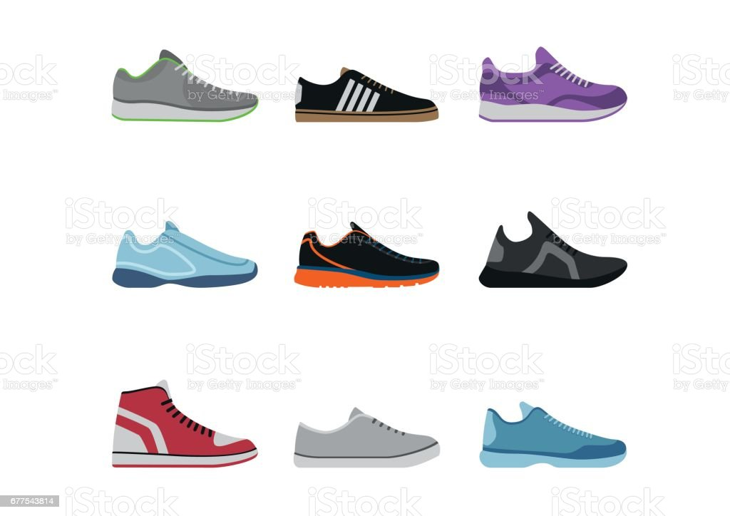 Comfortable shoes collection isolated on white background. Sportwear sneakers, everyday footwear clothing in flat style. High and low keds, footwear for sport and casual look vector art illustration