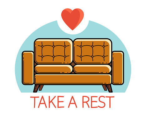 Comfortable sofa furniture vector emblem or icon isolated on white, soft couch daybed.