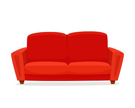 Comfortable sofa on white background.