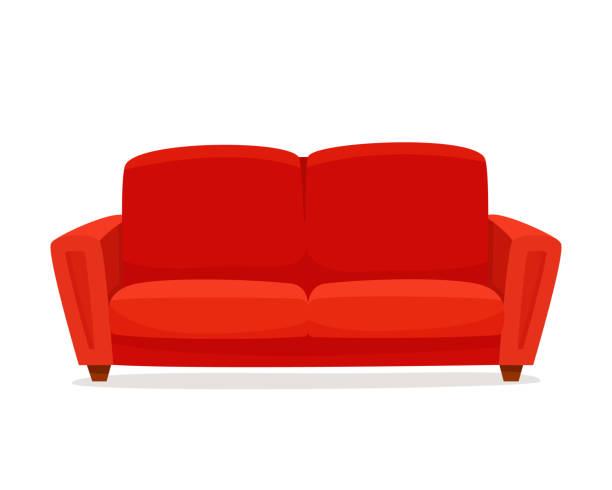 Comfortable sofa on white background. Comfortable sofa on white background. Isolated red couch lounge in interior.  Flat cartoon style vector illustration. sofa stock illustrations
