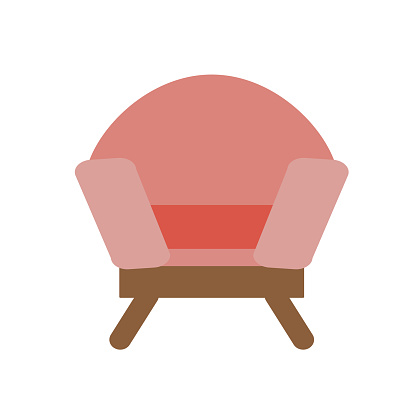 Comfortable upholstered chair, isolated on a white background. Vector illustration in flat style. Collection of furniture for home and office
