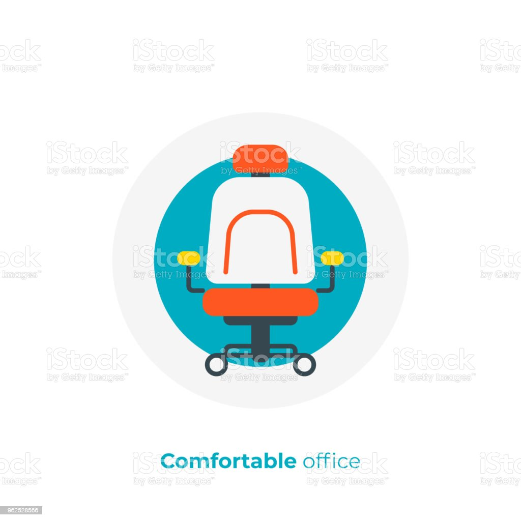 Comfortable work place flat art icon, business time vector art, cartoon leader place illustration - Royalty-free Adjustable stock vector