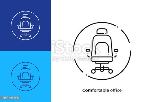 Comfortable work place line art icon, business time vector art, outline leader place illustration