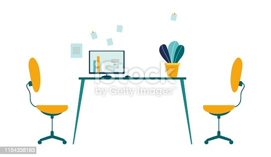 Comfortable Workplace in Modern Office Cartoon. Two Task Chairs, Table with Computer and Flower in Pot, Stickers on Wall. Optimum Workspace Organization for Work and Rest. Flat Vector Illustration